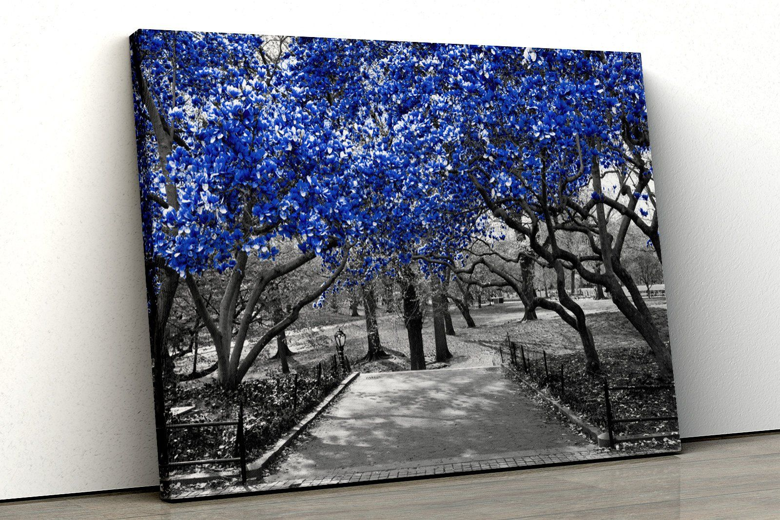 Coloured trees bridge oil painting Framed Abstract Canvas Print Wall Art 164