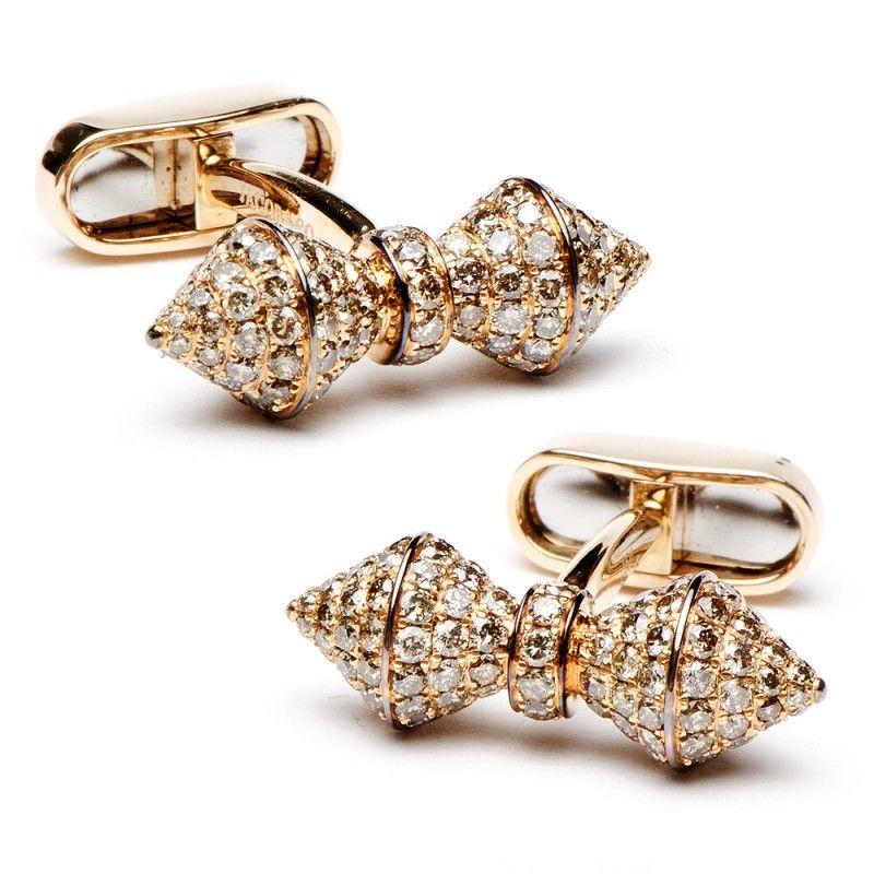 18K Rose Gold Diamond Barbell Cufflinks
