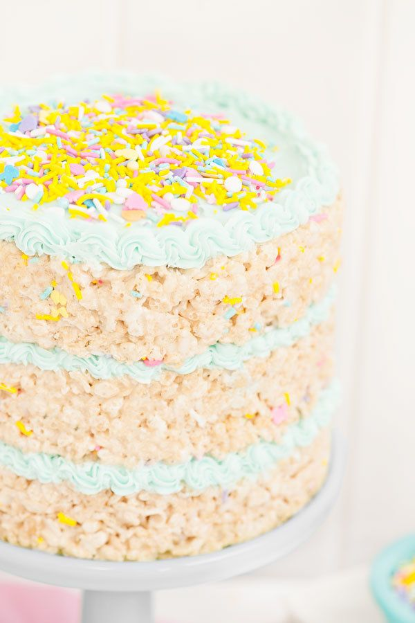 Indulge your inner lazy baker and your inner child by making this Rice Krispies Treat cake for dessert.