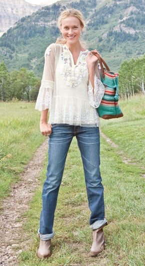 * white and lacey with jeans in a rugged outdoor setting. Thats the contrast i like.