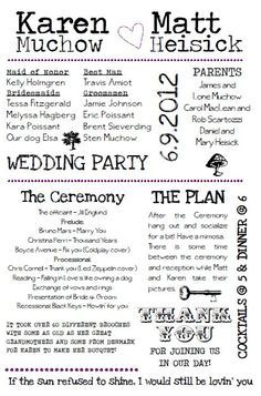 Awesome Funny Wedding Program Wording Styles & Ideas