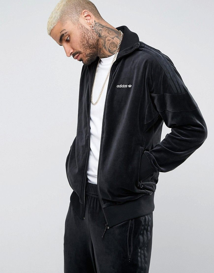 3a40dc0bfe50 ADIDAS ORIGINALS CLR84 VELOUR TRACK JACKET IN BLACK BS4662 - BLACK.   adidasoriginals