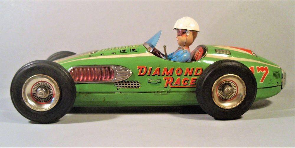 Large Tin Friction Battery Op S Diamond Racer Race Car Driver