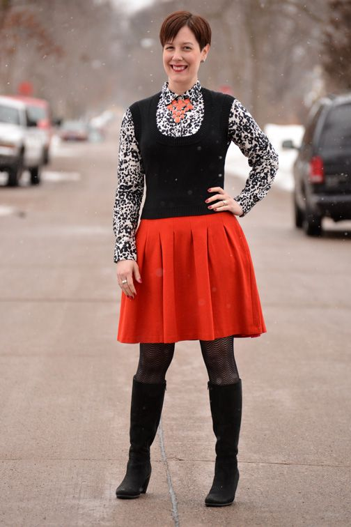 Already Pretty outfit featuring black sweater vest, J.Crew snowcat ...