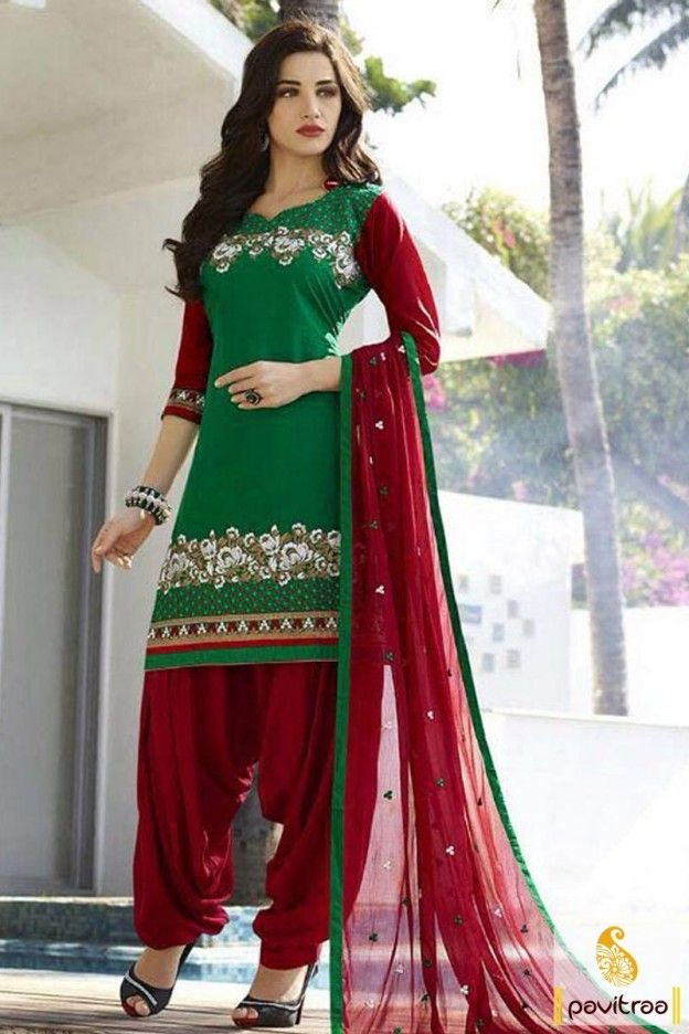 Trendy Indian women wear latest green red color embroidered patiala ...