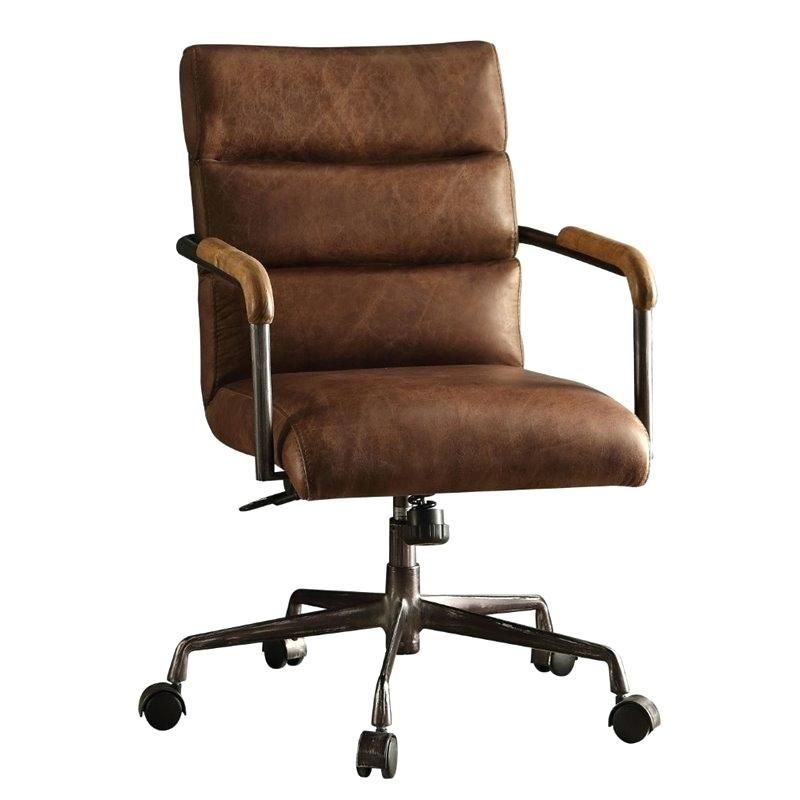 Brown Leather Swivel Desk Chair Acme Office In Retro Executive
