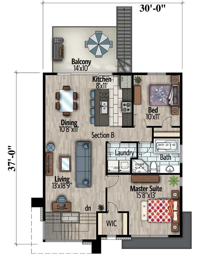 Contemporary Duplex 90290pd Architectural Designs House Plans