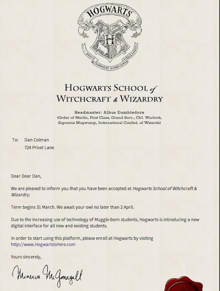 Hogwarts Acceptance Letter Wizarding World Hogwarts