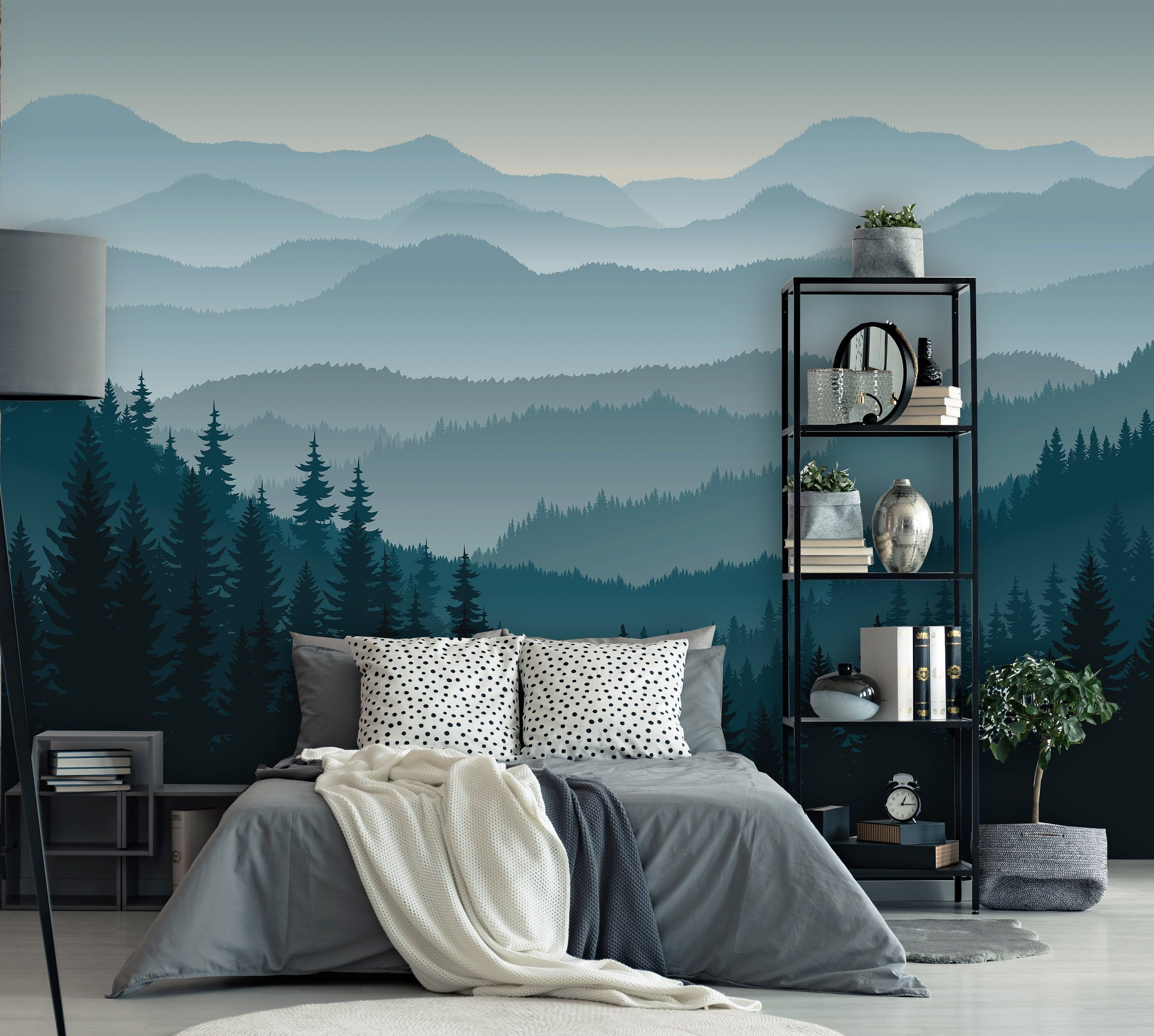 Abnehmbare Schale N Stick Tapete Selbstklebende Fototapete 3d Mountain Wandbild Tapete Kinderzimmer Ombre Blue Mountain Pine Wald Baume In 2020 Mountain Mural Bedroom Wall Art Bedroom Wall