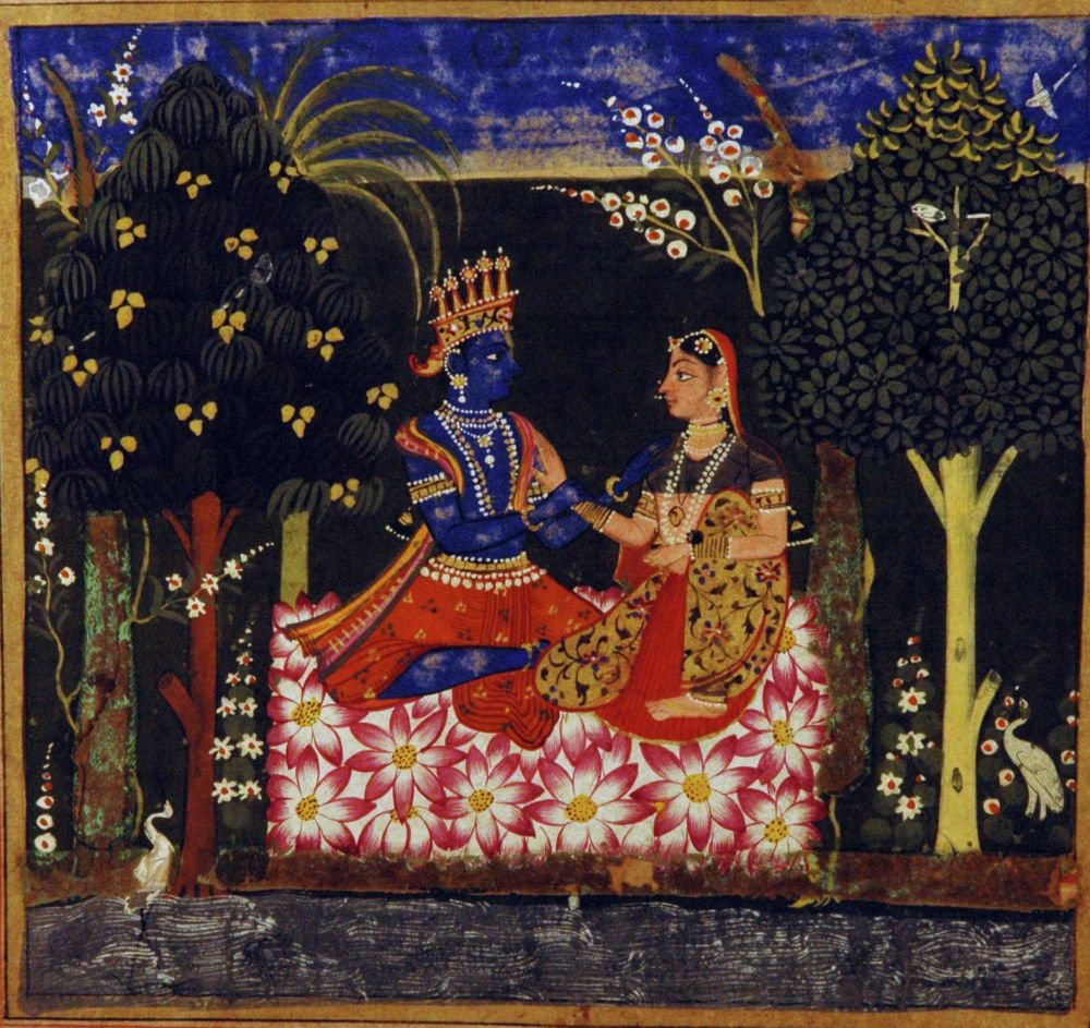 Krishna And Radha Seated In A Bower. Opaque Watercolor And