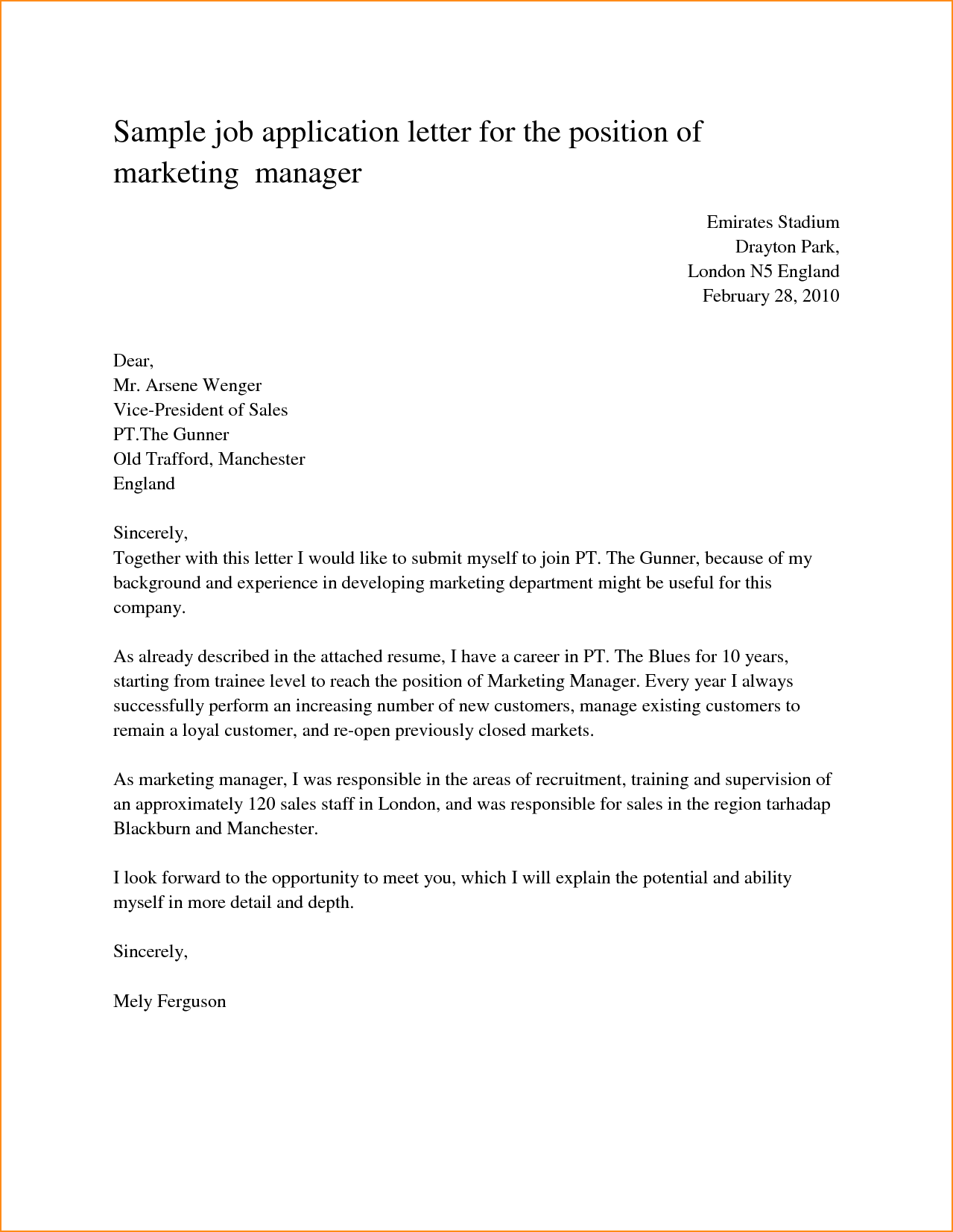 Amazing Sample Job Application Letter For The Position Marketing Manager Any Resumed  Cover Letter Sample For A Job