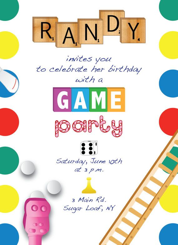Printable Game Night Party Invitation Design Caddie On Etsy Game