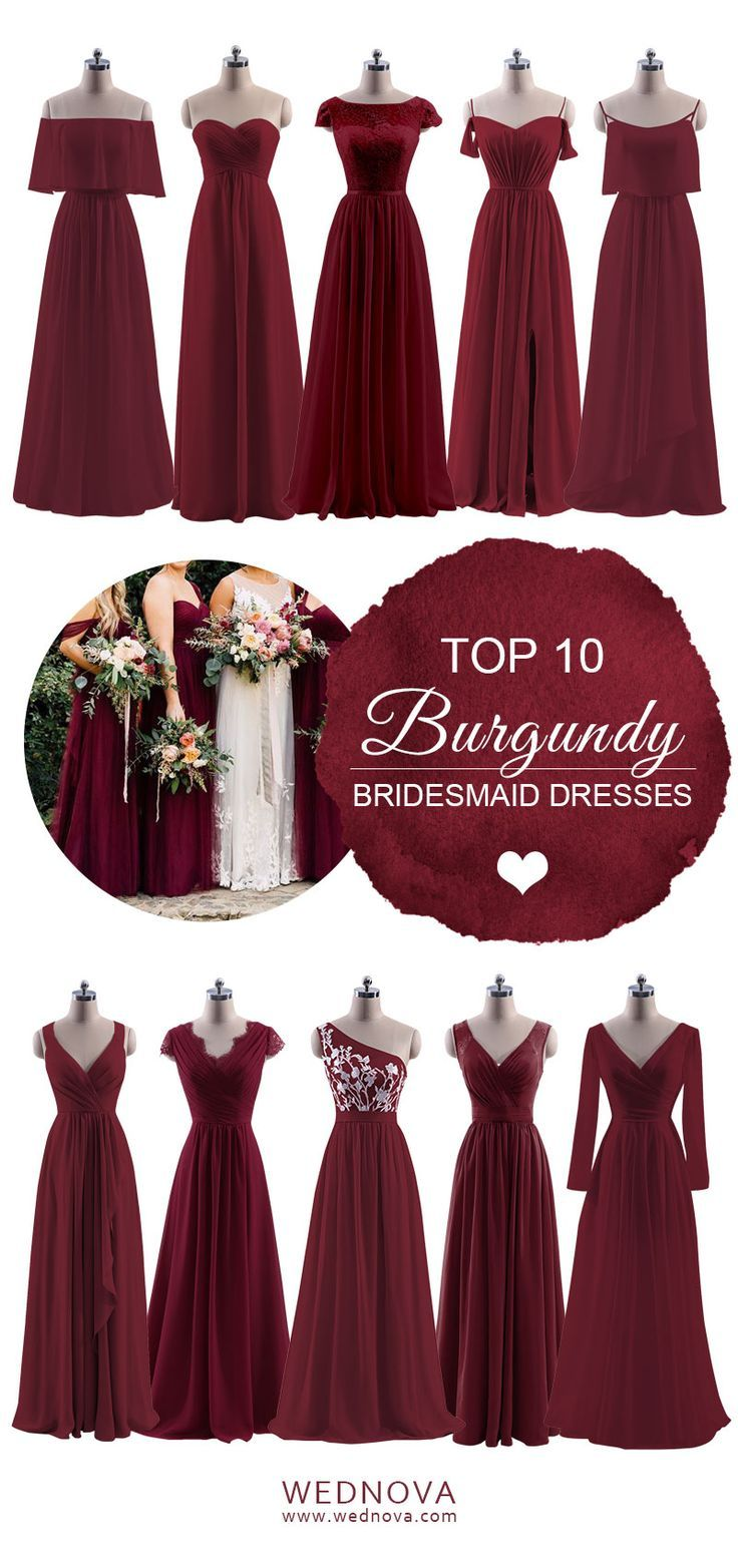Top burgundy bridesmaid dresses lace details with long sleeves