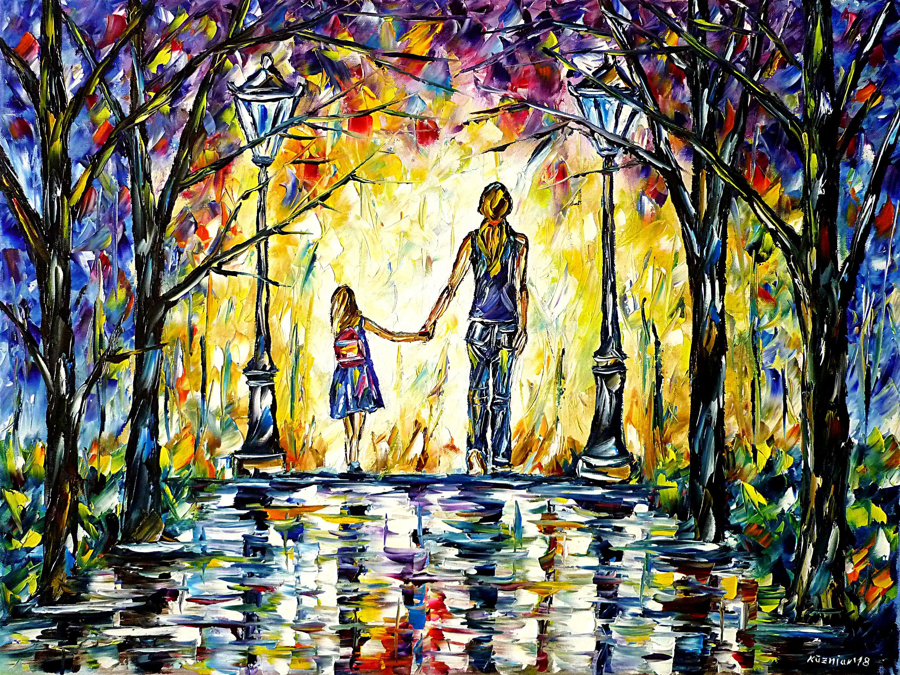 Mutter mit Tochter, Hand in Hand by Mirek Kuzniar, Öl