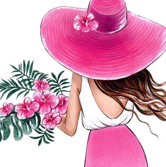 Photo of Pared tropical arte verano ilustración moda Girly arte chica dormitorio pared arte tropical f…