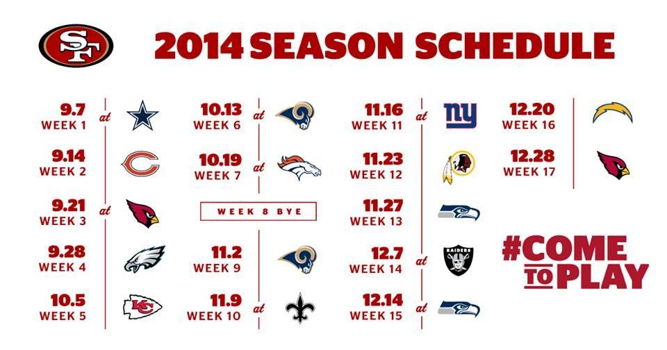 8e8272b8 2014-2015 49ers Schedule | SF 49ers | 32 nfl teams, 49ers fans ...