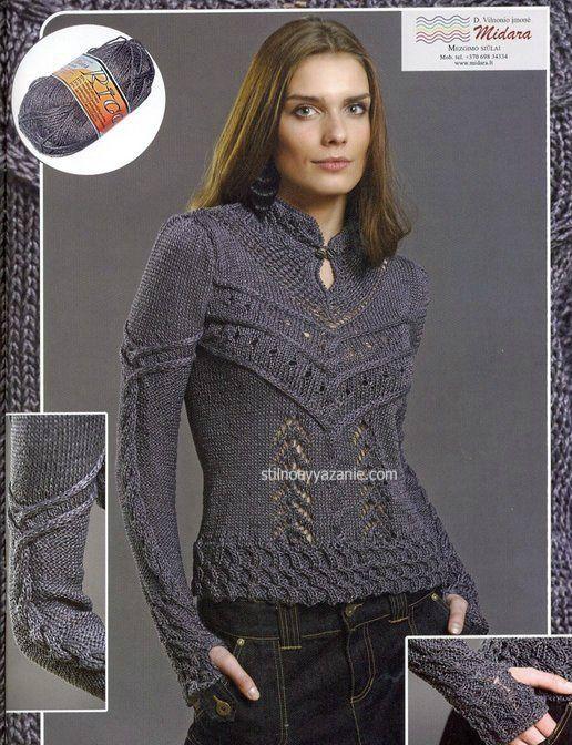 Пуловер с миксом узоров | каталог вязаных спицами узоров