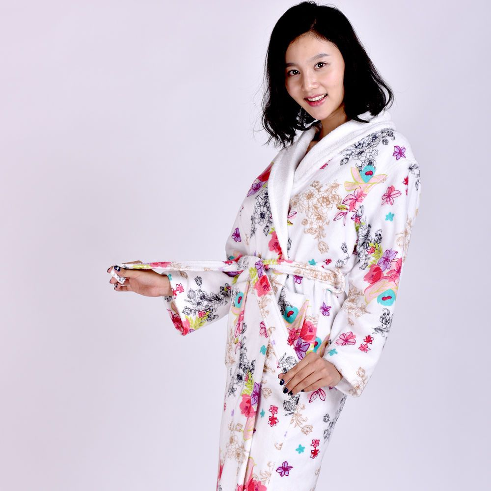 Vintage Floral Crossover Women s Robes Belt Soft Luxury Soft Cotton  Bathrobe New  MMY  RobeGownSets 638125f41