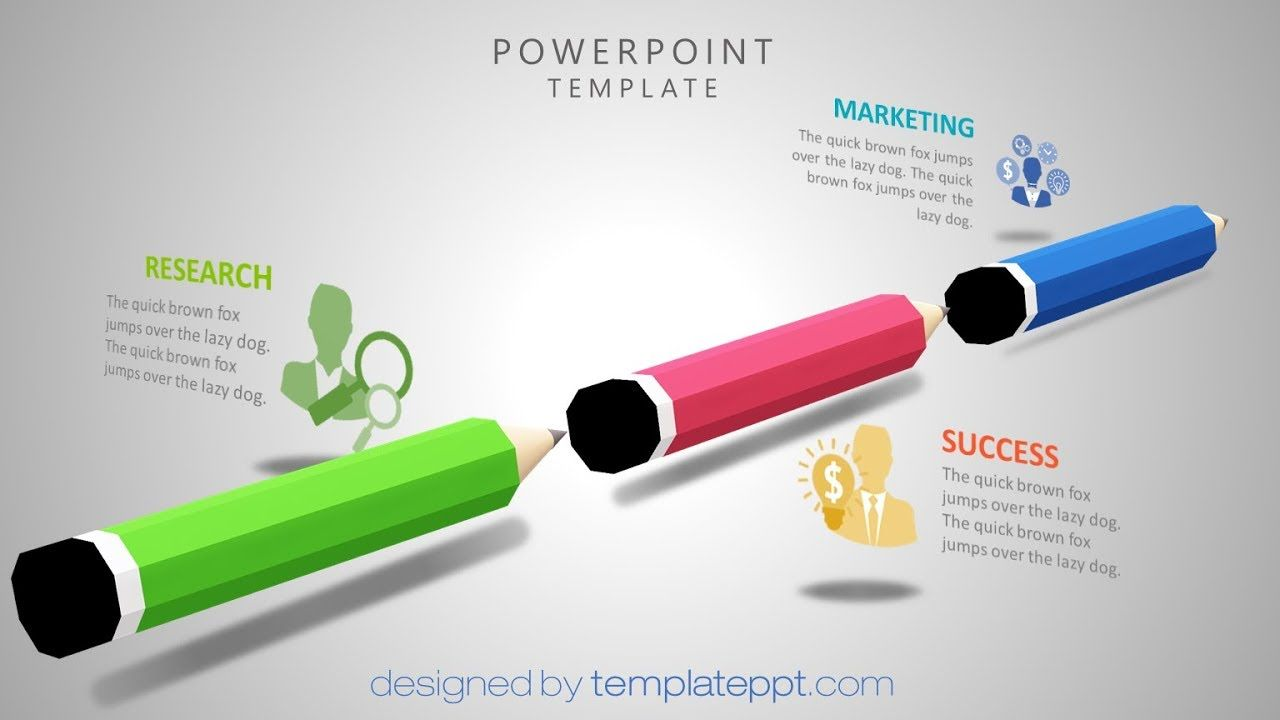 D Pencils Powerpoint Template  Animation Effects Template