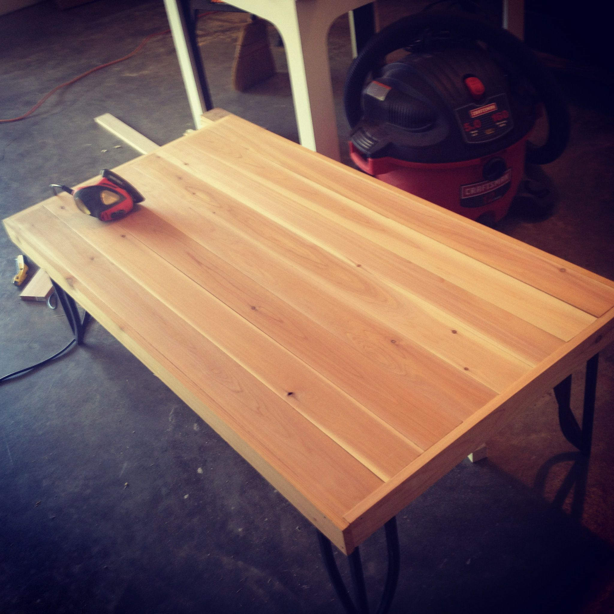 Merveilleux DIY Cedar Table Top On Pre Existing Metal Frame. Pre Stain.