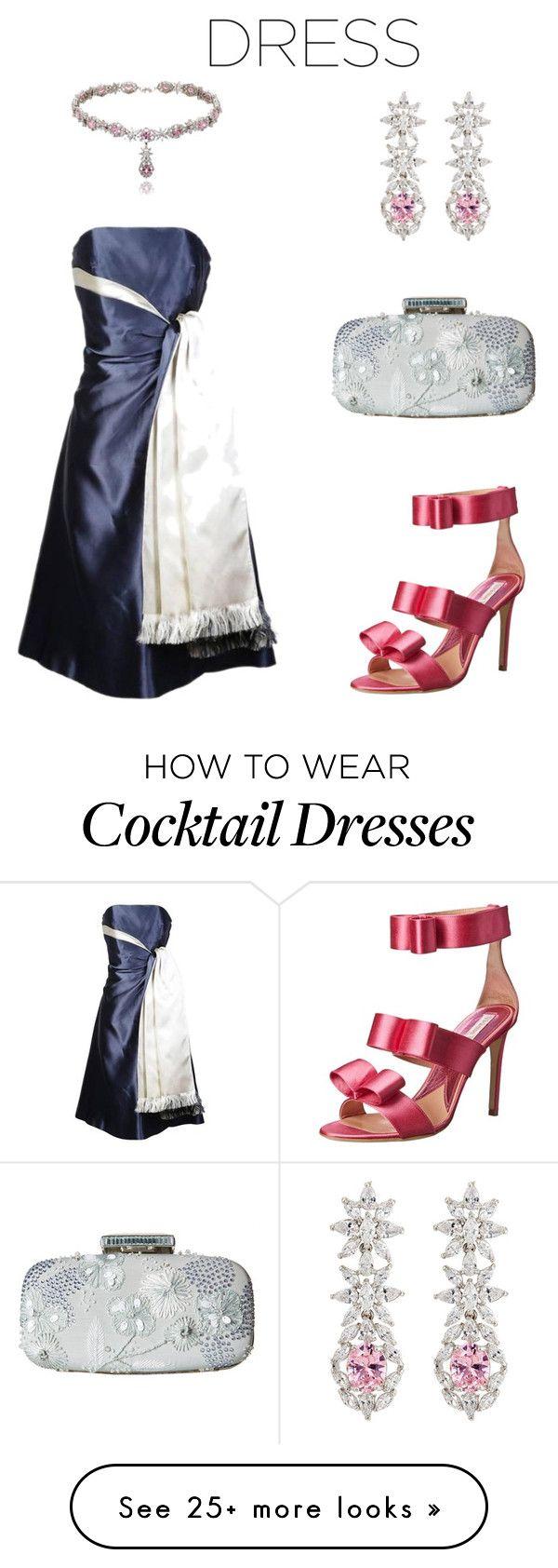 """Lanvin Two-Toned Silk Satin Cocktail Dress"" by simpleelegance-558 on Polyvore featuring Lanvin, Oscar de la Renta, Vivienne Westwood and Fallon"