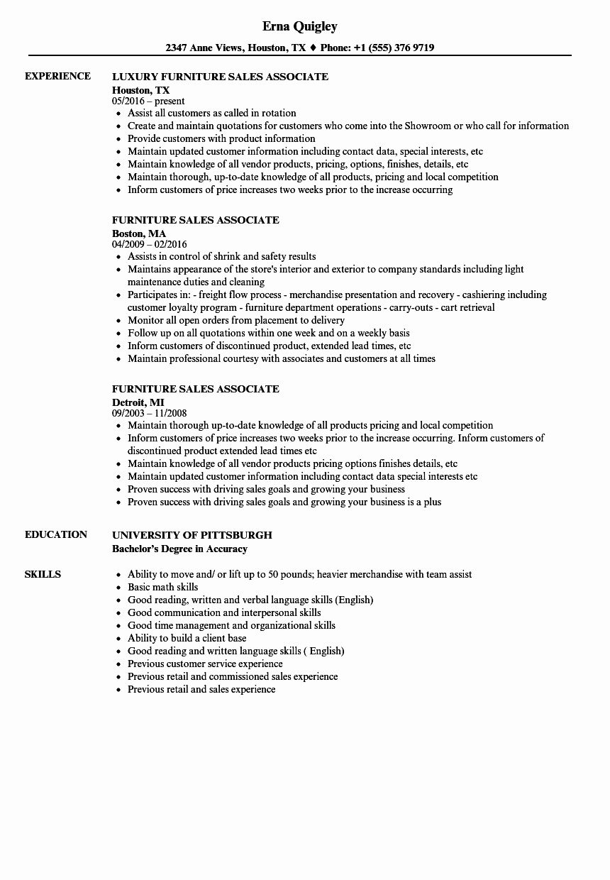 Resume example for sales associate inspirational furniture