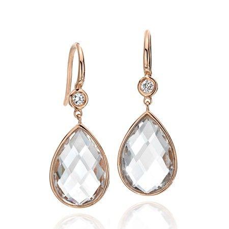 Ivanka Trump Rose Gold Diamond and Rock Crystal Drop Earrings