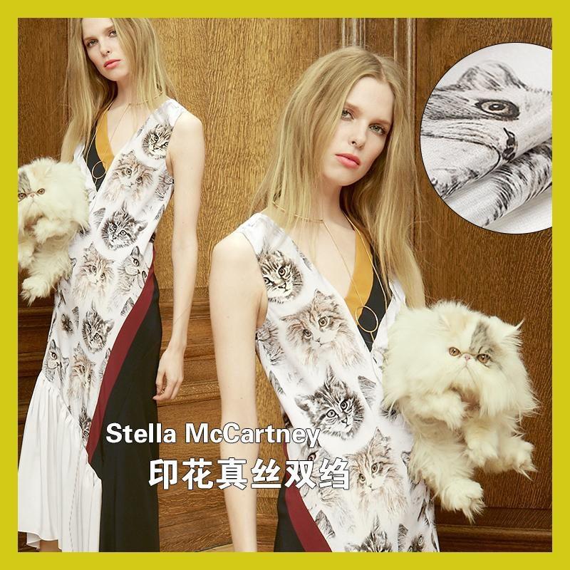 Gatito bebe hermosa seda Crepe de impresion digital retro vestido con ropa de tela