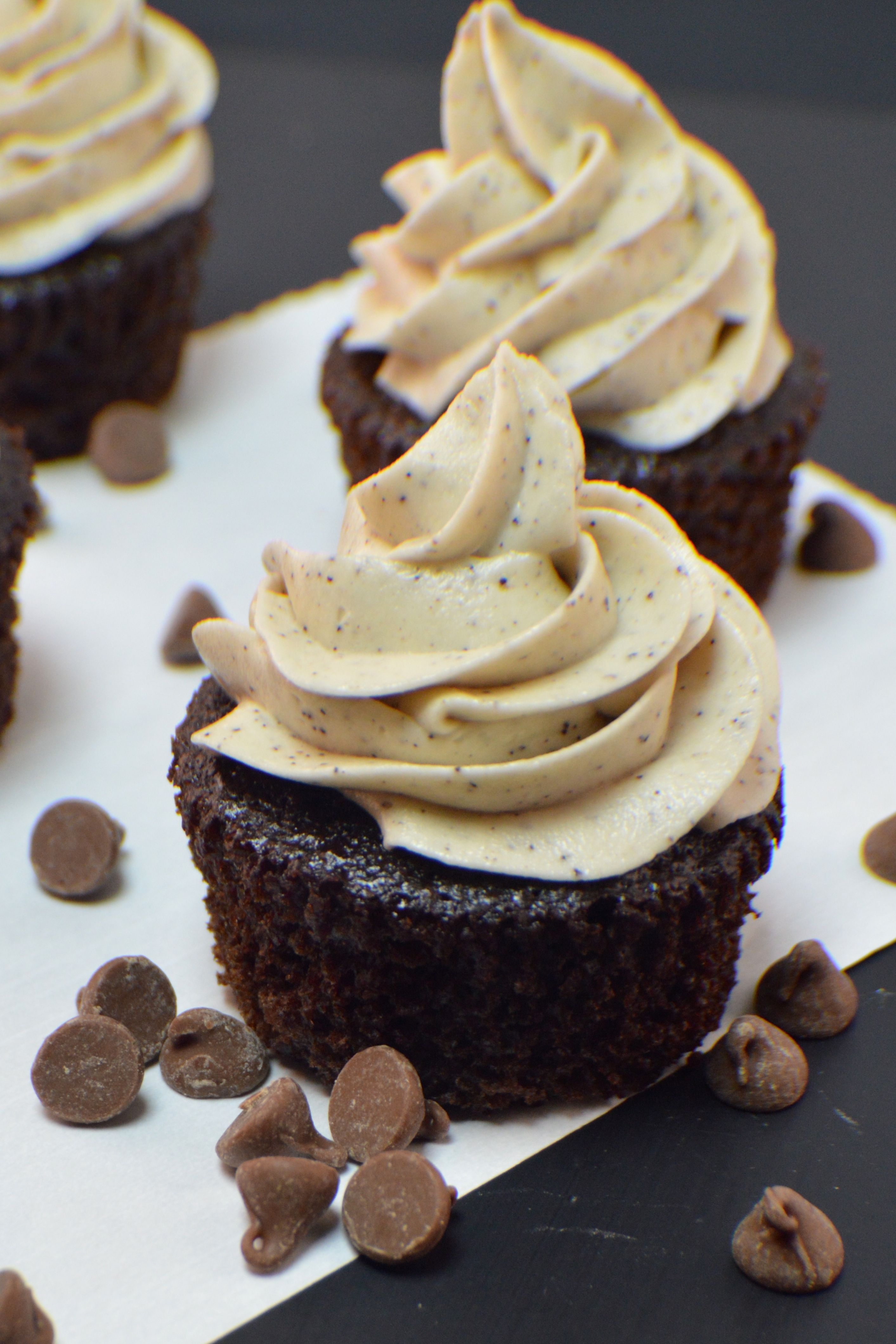 Espresso Frosting On Chocolate Coffee Cupcakes