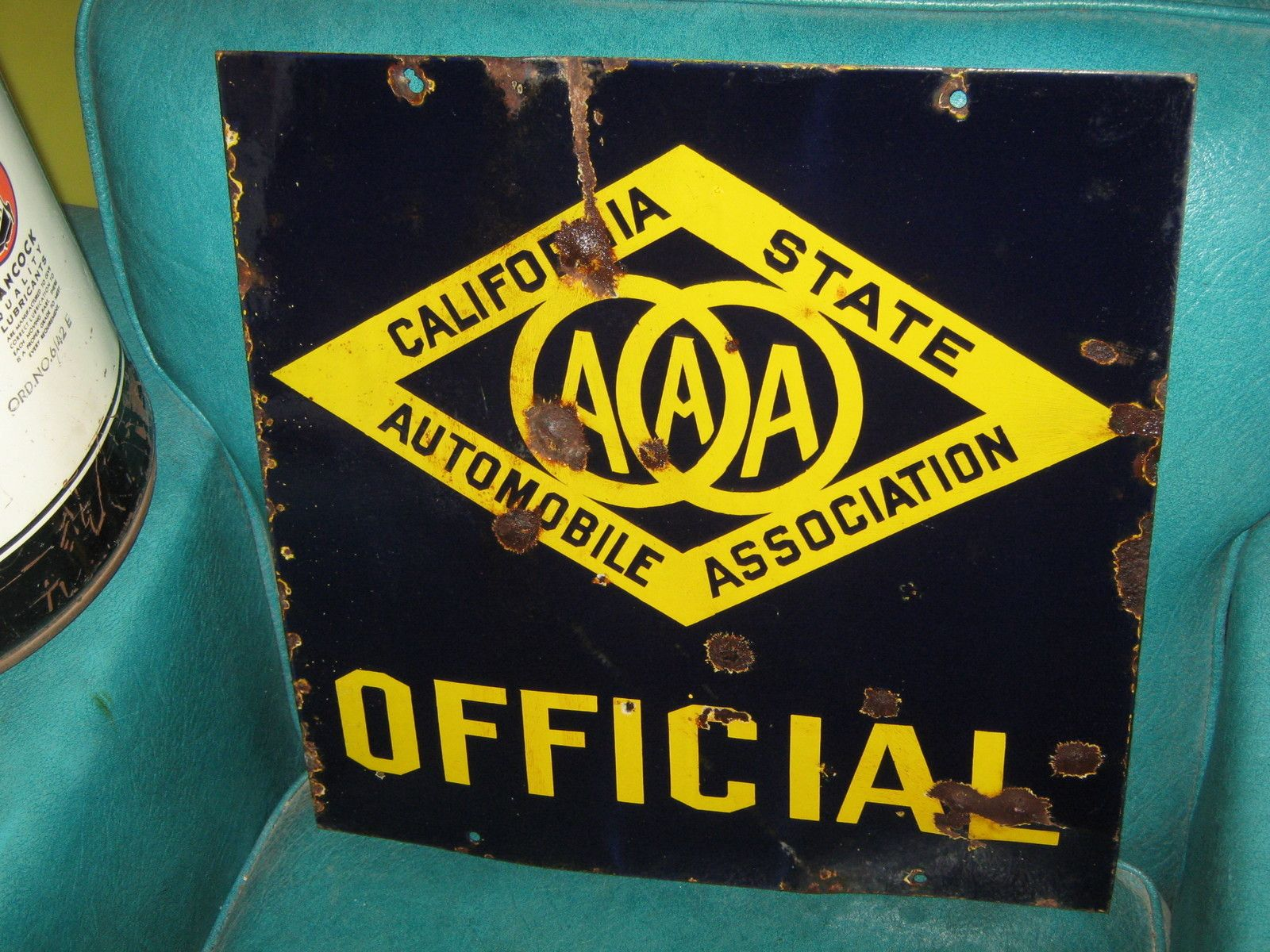 Rare Very Early Porcelain Aaa Auto Club Official