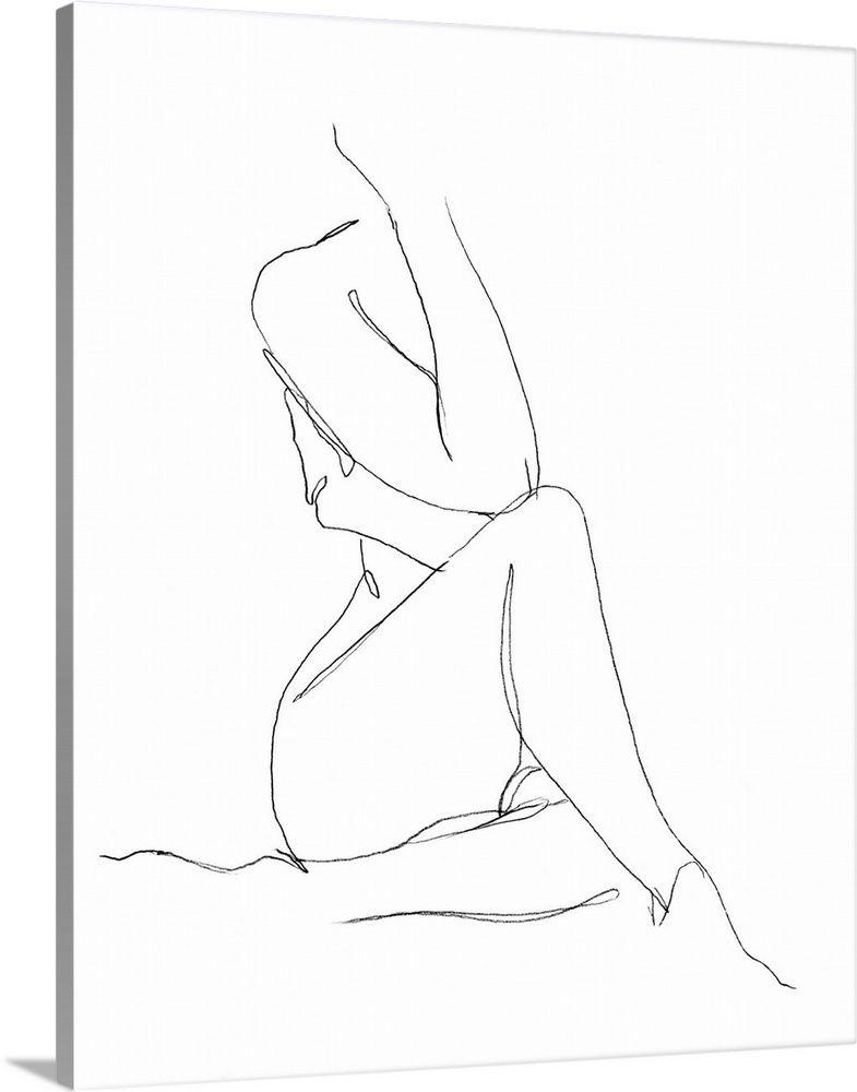 Nude Contour Sketch I Solid-Faced Canvas Print
