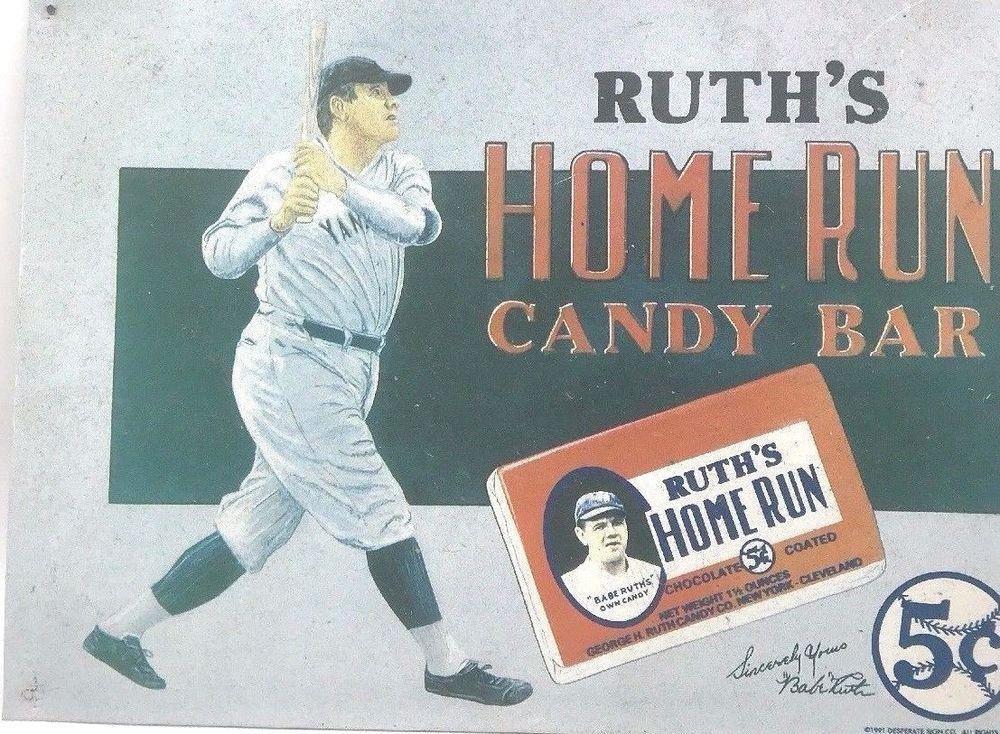 1991 tin sign babe ruths home run candy bar 16x12