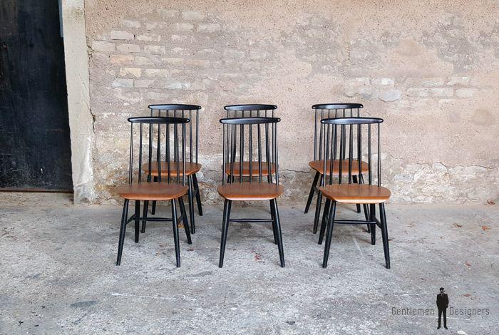 Lot 6 chaises vintage tapiovaara teck barreaux noirs vin