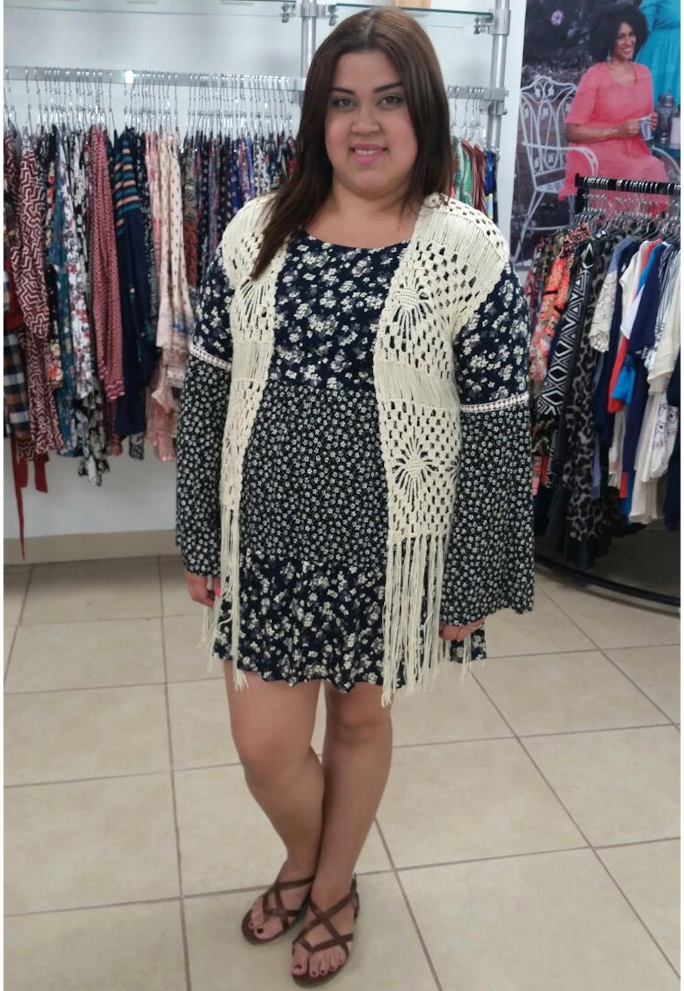 Plus Size Crochet Knit Cardigan