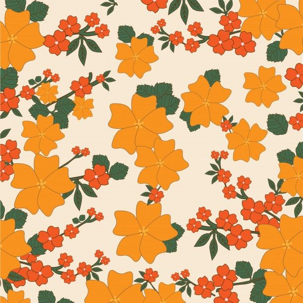 Vintage Floral Wallpaper Orange Backgrounds FreeWallpaper BackgroundsFlower PatternsPublic DomainFlower