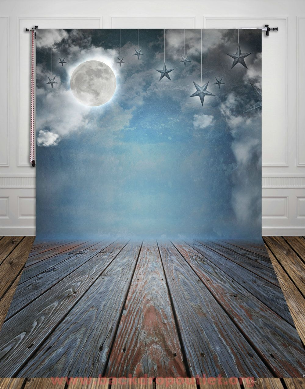 Thin Digital Printed Photography Backdrop Moon Stars Wooden Floor  Background Photo Studio Shoot Props