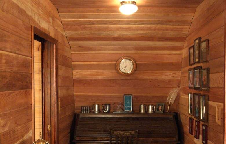 Interior Wood Paneling Cabin Redwood Paneling Desk