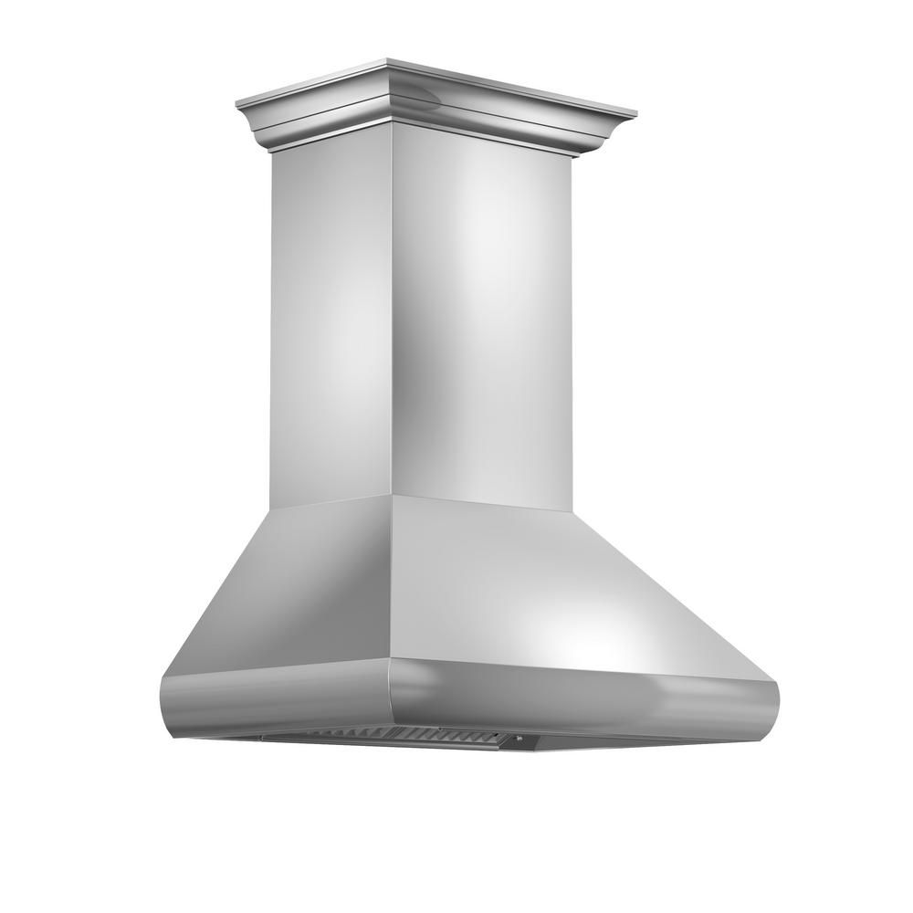 Zline Kitchen And Bath Zline 30 In Professional Wall Mount Range Hood In Stainless Steel With Crown Molding 587crn 30 587crn 30 The Home Depot Wall Mount Range Hood Range Hood Stainless Steel