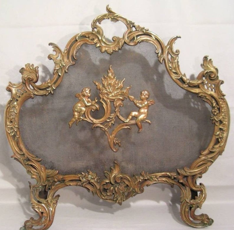 French Rococo Fireplace Spark Guard Antique Bronze Fire ...