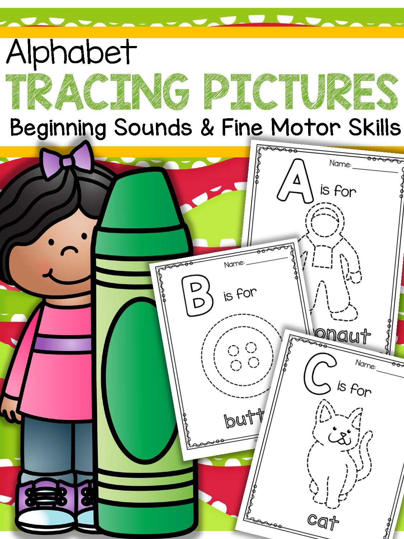 Alphabet Tracing Pictures Printables - Fine Motor Skills & Beginning ...