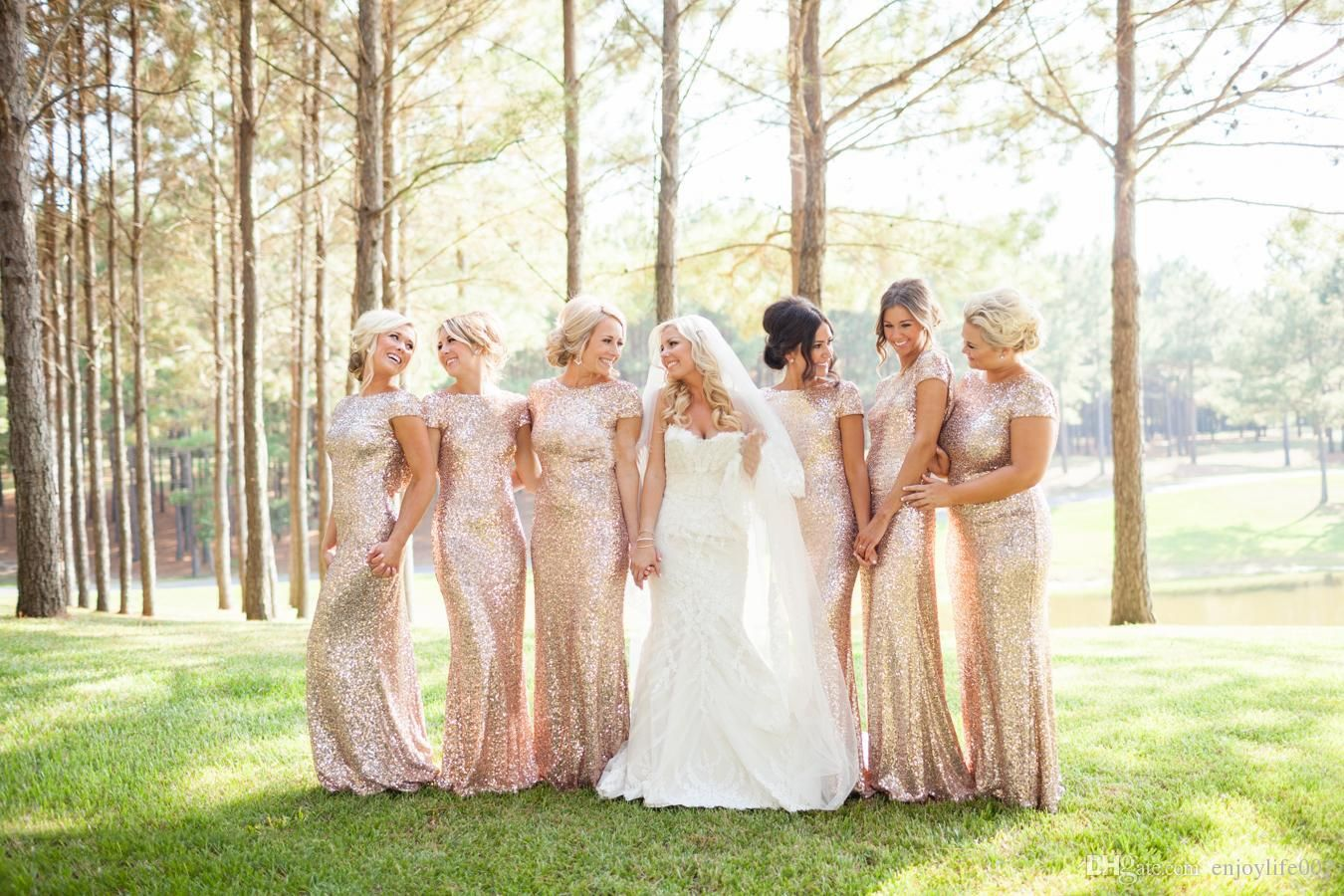 2d6faad7ef3 Sparkly Rose Gold Cheap 2016 Mermaid Bridesmaid Dresses 2016 Short Sleeve  Sequins Backless Long Beach Wedding