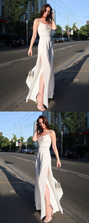 Sheath spaghetti straps floor length white chiffon prom party dress