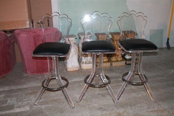 Vintage Set Of 3 Barstools Bar Stools Lucite Hollywood Regency Mid Century Modern Retro Shell Back Chairs Co Bar Stools With Backs Lucite Bar Stools Bar Stools