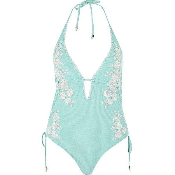 15857c23ea River Island Light blue floral appliqué swimsuit ($34) ❤ liked on ...