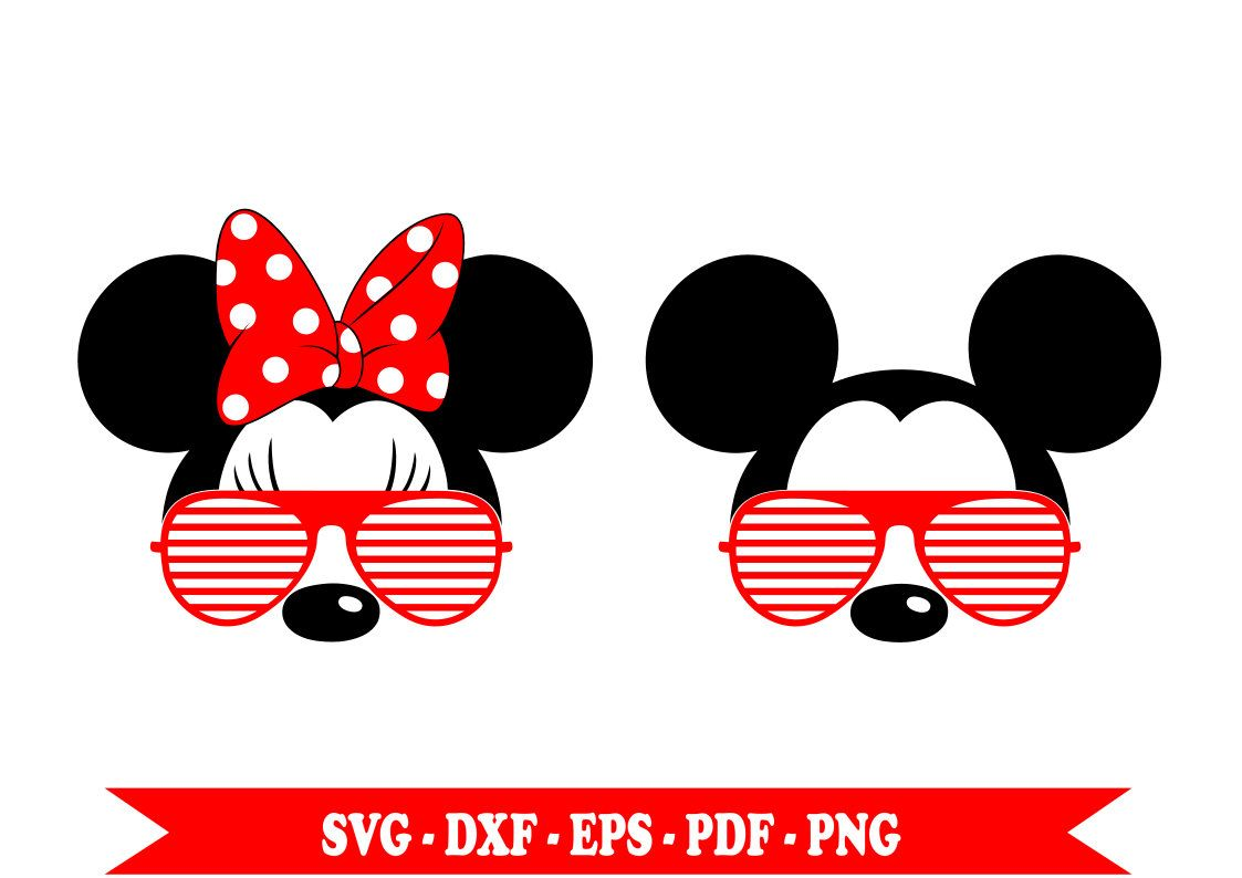 Mickey Mouse Svg With Sunglasses Minnie Mouse Svg Sunglasses Svg Files Eps Dxf Png Pdf For Silhouette Cameo Cricut Vinyl Disney Scrapbook Mickey Minnie