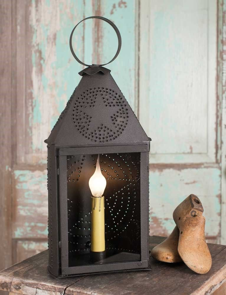 Country Primitive Rustic Half Round Punched Tin Star Lantern