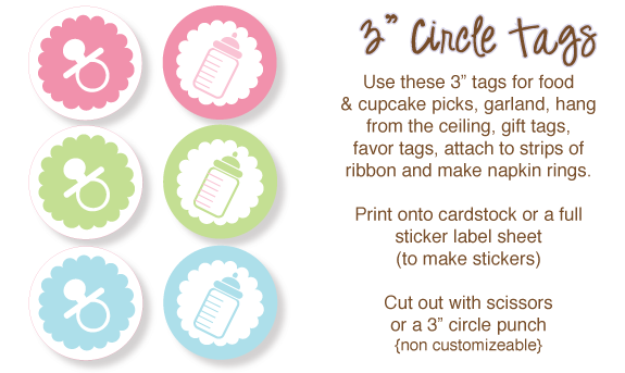 The ultimate list of baby shower clip art babyshower favors and printable circle tags for favors food picks cupcake picks stickers or gift tags negle Image collections