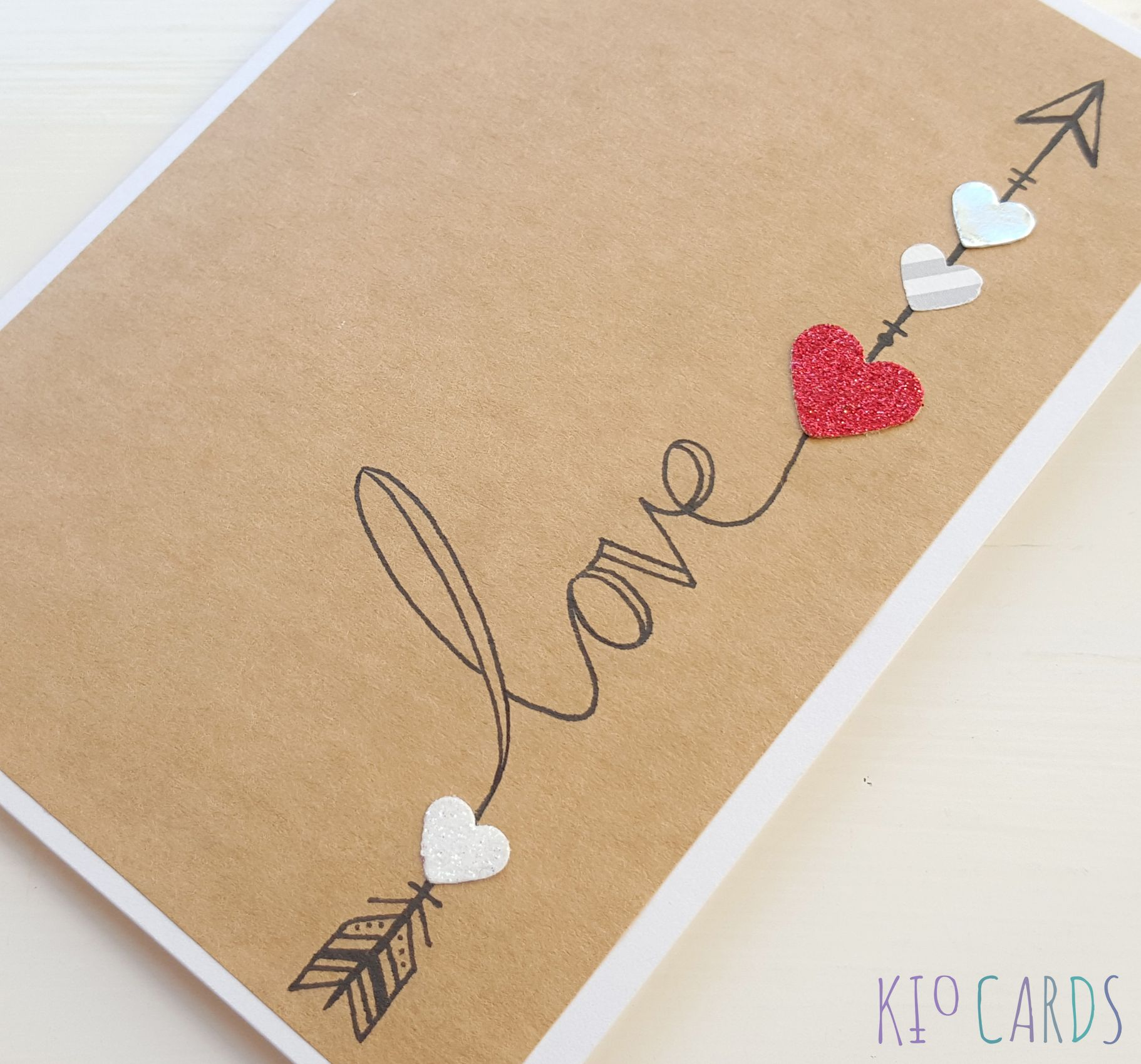 Kio Cards Hand Drawn Love Arrow Anniversary Card Love Cupid