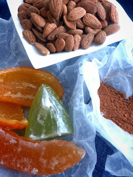 almonds, candied fruit and spices for gingerbread
