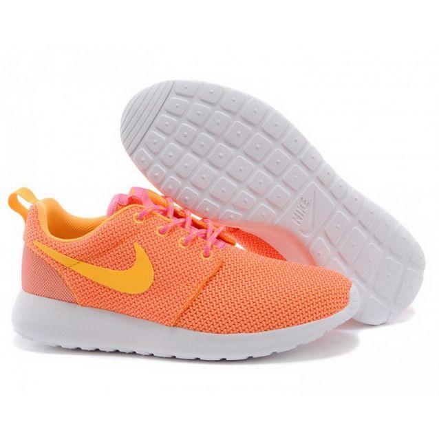 womens nike white & orange roshe run trainers warehouse